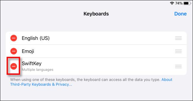 حذف لوحة مفاتيح الطرف الثالث على iPad