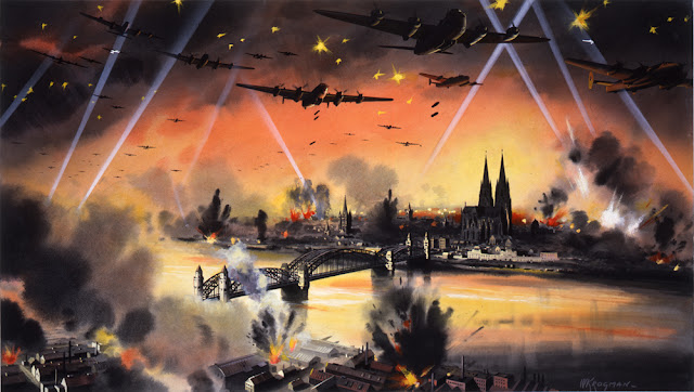 Artist depiction of RAF attack on Cologne, 31 May 1942 worldwartwo.filminspector.com