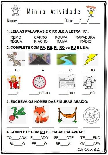 ATIVIDADE DE ALFABETIZAÇÃO LETRA R