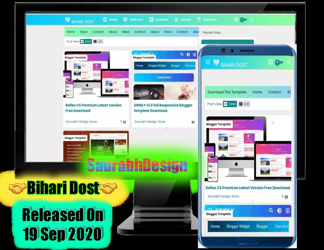 Bihari Dost v1.1 Premium Blogger Template free Download By SaurabhDesign.
