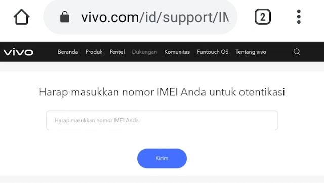 Cara mengecek sisa garansi resmi Vivo