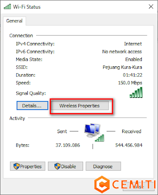 Password Wifi di Windows Melalui Wireless Properties