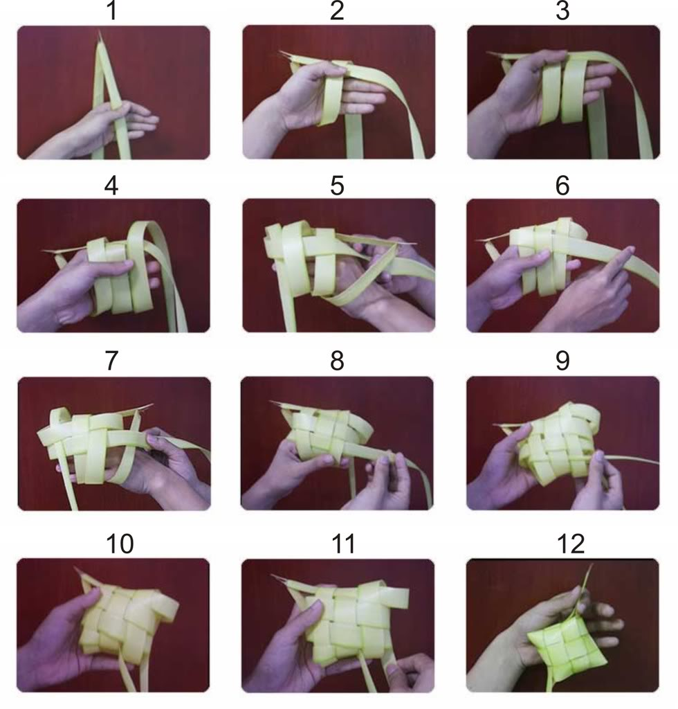 membuat anyaman ketupat