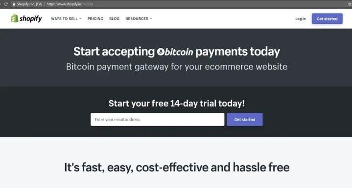 Accept Payment via Shopify