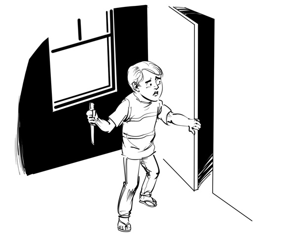kids book illustration boy holding knife and opening a closet door