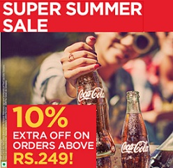 Flat 10% Extra Discount on Coca Cola | Thumsup | Fanta | Limca | Sprite | Maza & more @ Coke2Home