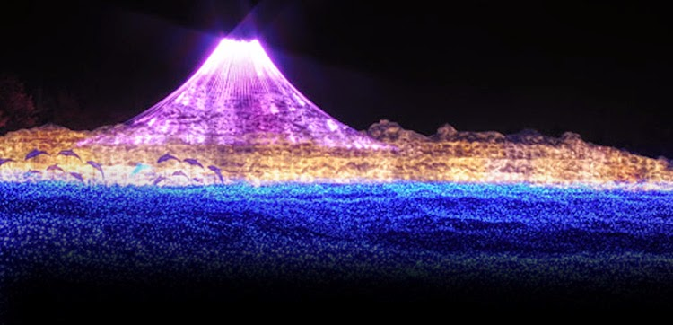 Simulación del monte Fuji con luces en Nabana No Sato