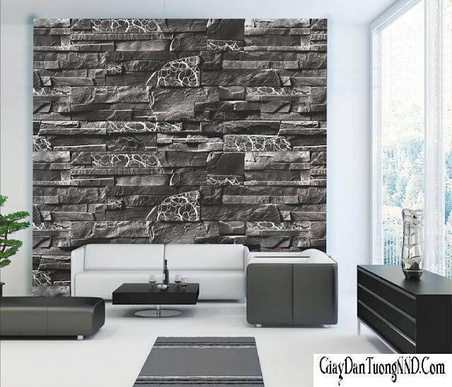 giấy dán tường phòng khách điểm nhấn giả đá