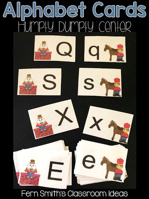 Click Here to Download This Alphabet Matching Centers with a Humpty Dumpty Theme for Your Classroom Today!