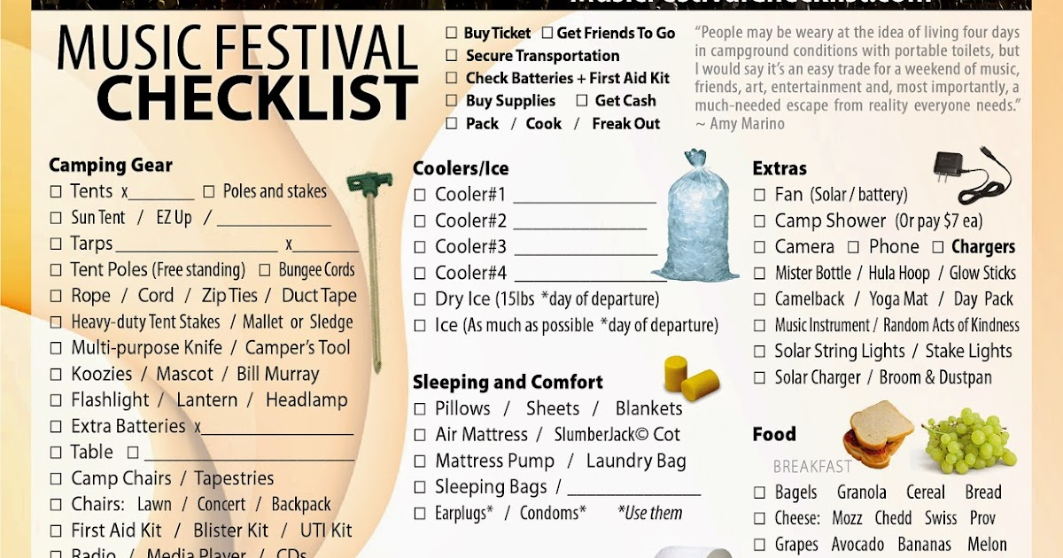 Music Festival Checklist: Music Festival Checklist - The