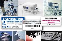 Orthopädie-Eigentumsetiketten und Inventaraufkleber