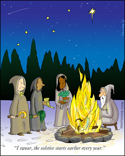 "Celebrants around the bonfire on solstice night, holding herbs and sickle, and singing. one says ""I swear, the solstice starts earlier every year."""
