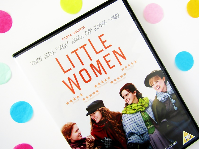 A flatlay photo taken from above of the 2019 Little Women DVD case on a white background, surrounded by colourful confetti.