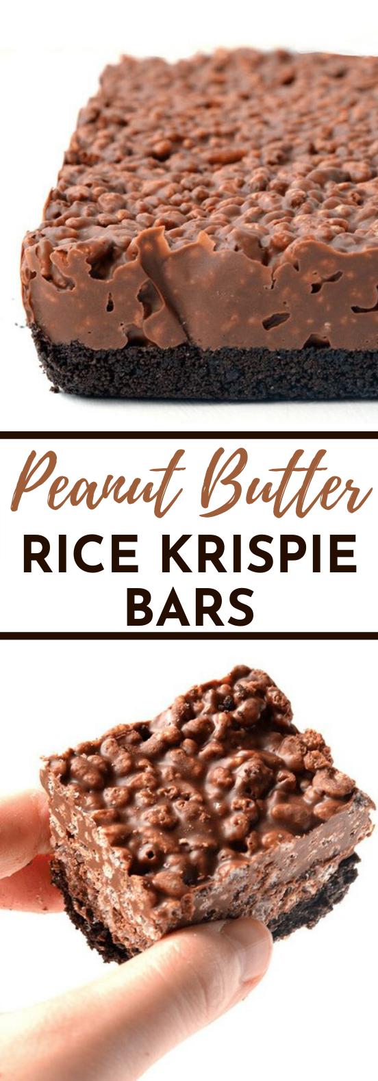 Peanut Butter Rice Krispie Bars #desserts #bars #peanutbutter #nobake #cookies