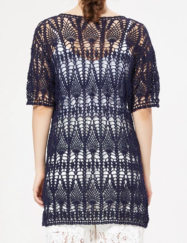 Crochet lace cardigan, crochet pineapple, for women, short sleeve, with crochet pattern
