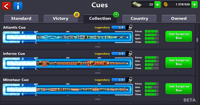 legendary Cue 8bp for free