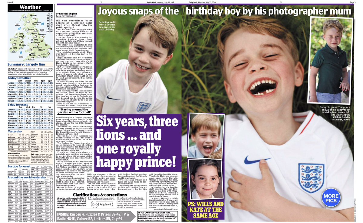 Prince George's 6th Birthday News Spreads in Today's Daily Mail