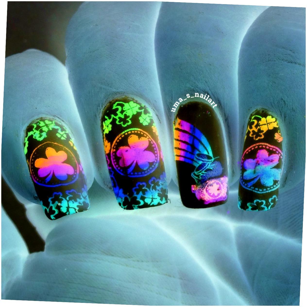 Uma\'s Nail Art: Rainbow Shamrock Leaves Nail Art...