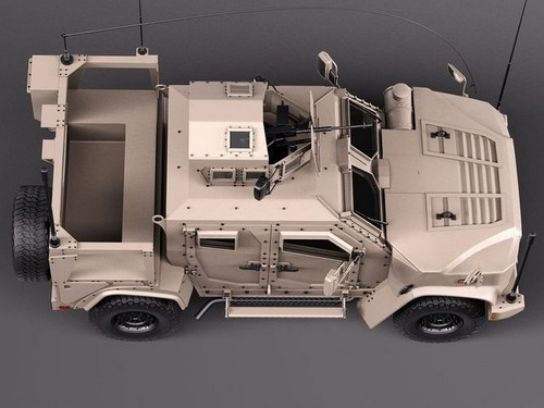 3dsMax高精度軍事卡車3D模型下載