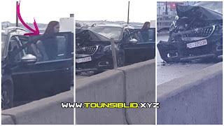 (بالفيديو و الصور) ابنت مسؤول بدولة تقوم بحادث مرور على مستوى قنطرة باردو و تحطم السيارة ادارية ذات الرقم المنجمي 02/221226