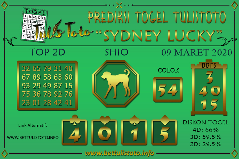 Prediksi Togel SYDNEY LUCKY TODAY TULISTOTO 09 MARET 2020