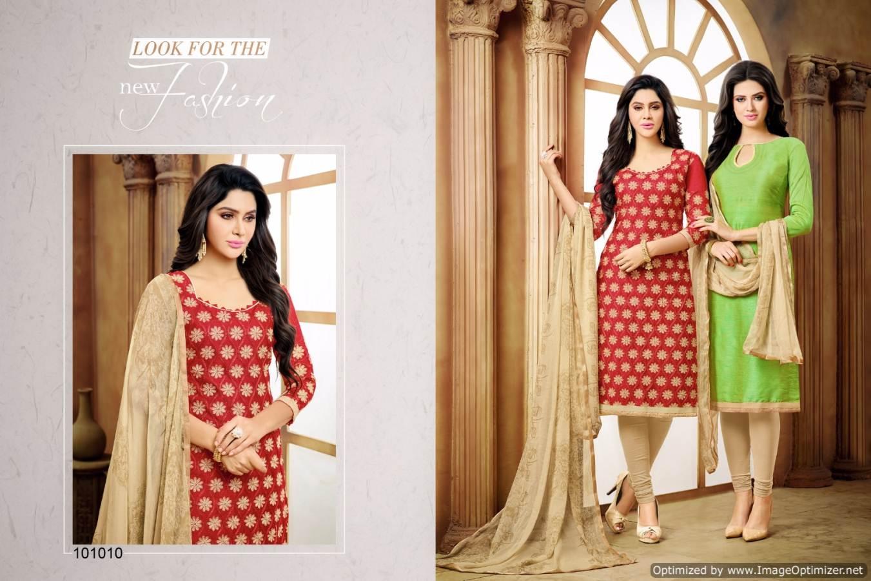 46fae67af1a Chaska Maska - Riyo Silk With Chanderi Work Dress Material - Helix ...