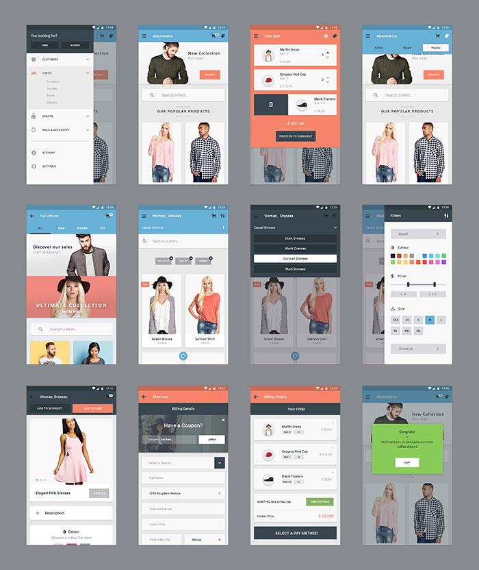 E-Commerce App UI Kit PSD