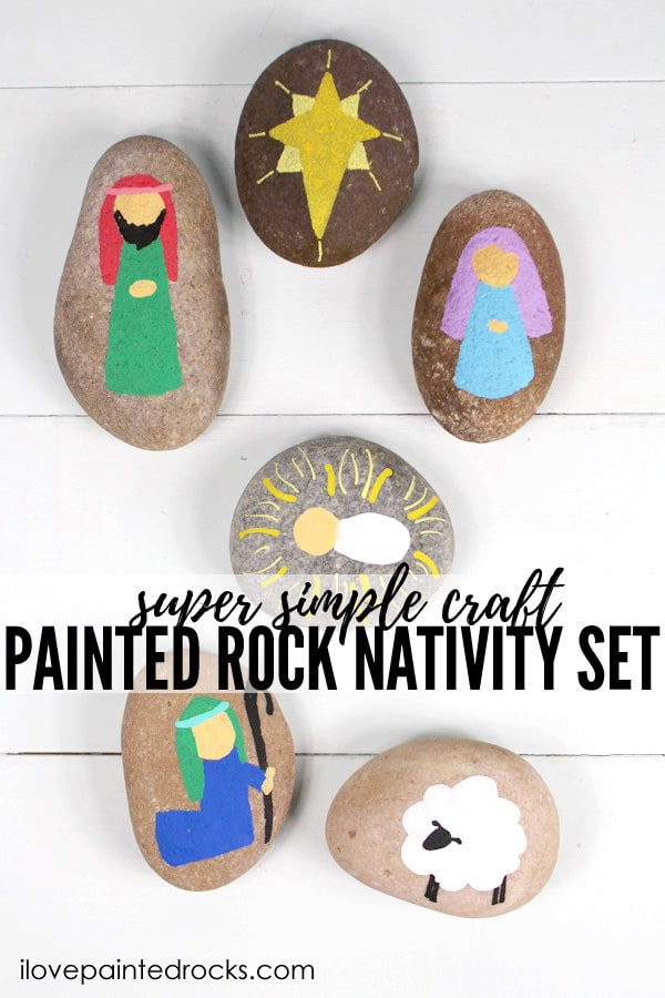 Nativity set painted rocks are the perfect holiday craft. These cute nativity rocks are great for kids to help paint and play with. Have the older kids paint some nativity set rocks while they are home from school for Christmas break.