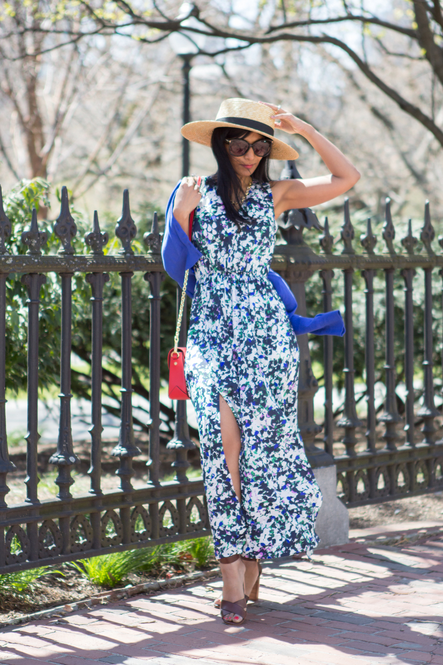 spring style, maxi dress, floral dress, floral maxi, cobalt blue, ann taylor, banana republic, jcrew, AEO, block heels, fashion blog, petite fashion, petite maxi, petite dresses, mommy style, mommy fashion, mom chic, mom glam, boater hat, straw hat, boston commons, spring lookbook, weekend style, garden party, indian blogger, feminine style, flowy dress
