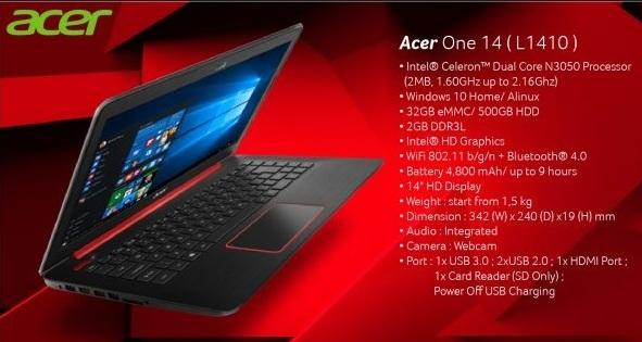 Harga Laptop Acer One 14 L1410 Tahun 2017 Lengkap Dengan Spesifikasi, Baterainya Tahan Lama