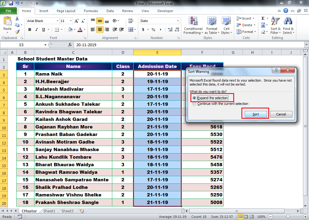 Learn Basic Data Sorting in MS Excel Data sort by Date Oldest to Newest & Newest to oldest
