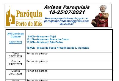 Avisos Paroquiais - 18-21/07/2021