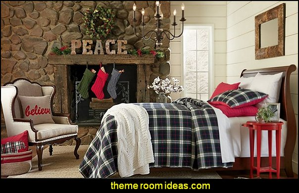 rustic bedroom  christmas decorating plaid bedding rustic christmas bedroom decorating