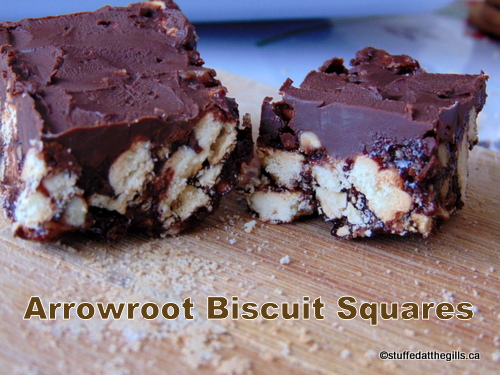 Arrowroot Biscuit Squares on cutting board.