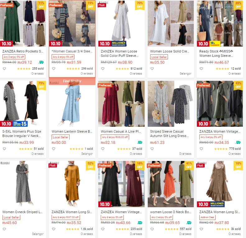 Muslimah Dinner Dress Cantik Murah Zanzea Collection Shopee
