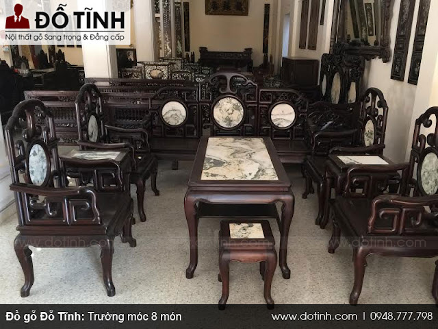 Mẫu bàn ghế cổ đẹp - Trường móc 8 món gỗ gụ