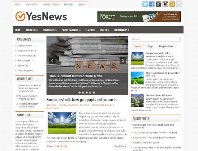 YesNews Blogger Template