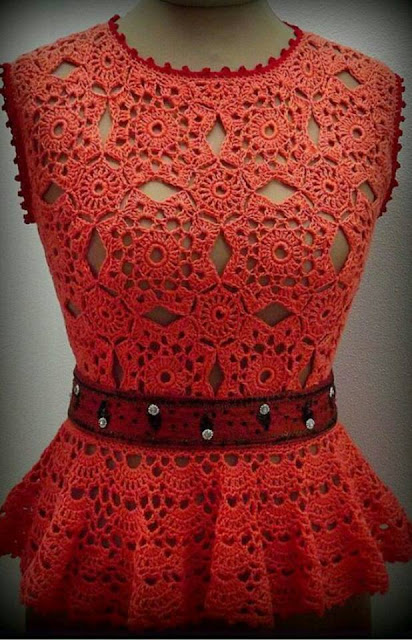 Beautiful red crochet blouse with step by step