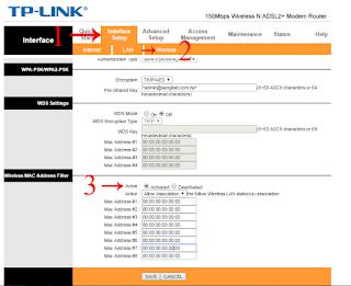TP link Router Setting (MAC address Setting).