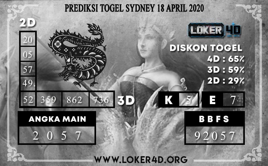PREDIKSI TOGEL SYDNEY LOKER4D 18 APRIL 2020