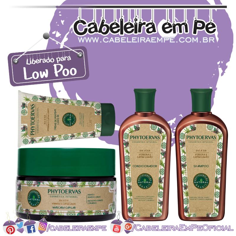 Shampoo, Condicionador, Máscara, Creme para Pentear Dia a Dia Verbena e Capim-limão - Phytoervas (Low Poo)