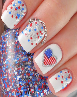Nails desings confeti 4 of july