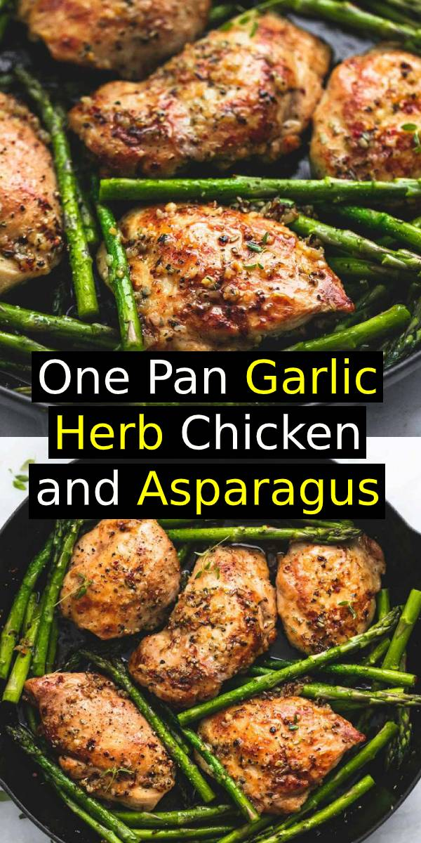 One Pan Garlic Herb Chicken and Asparagus Recipe | This is an easy 20 minute one pan meal recipe that the family will love!  #onepan #meal #chicken #easydinner #dinner #asparagus