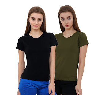 Women's V Neck Shirts Loose Casual Fashion Tops Cute Basic Tees with Front Pocket