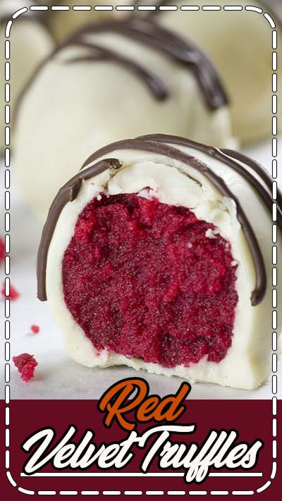 Red Velvet Truffles are bites of red velvet cake rolled up and dipped in white chocolate.