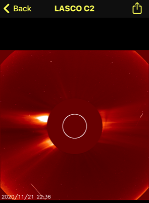 OVNI sale disparado más allá del sol, luego gira en dirección opuesta a la atracción gravitacional del sol, noviembre de 2020 3