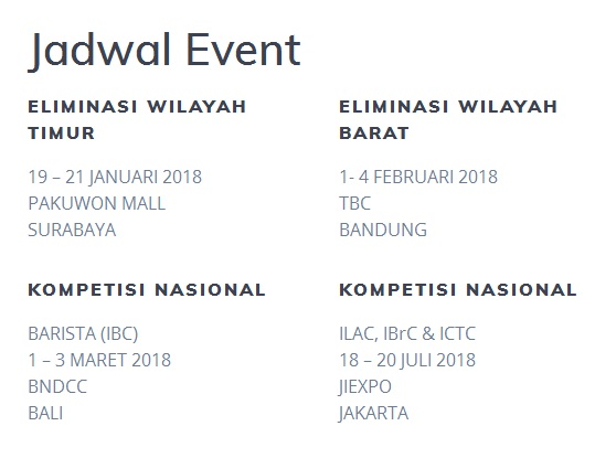 Jadwal Indonesia Coffee Events 2018