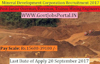 Gujarat Mineral Development Corporation Recruitment 2017– 39 Junior Overman/Foreman, Trainee Mining Engineers