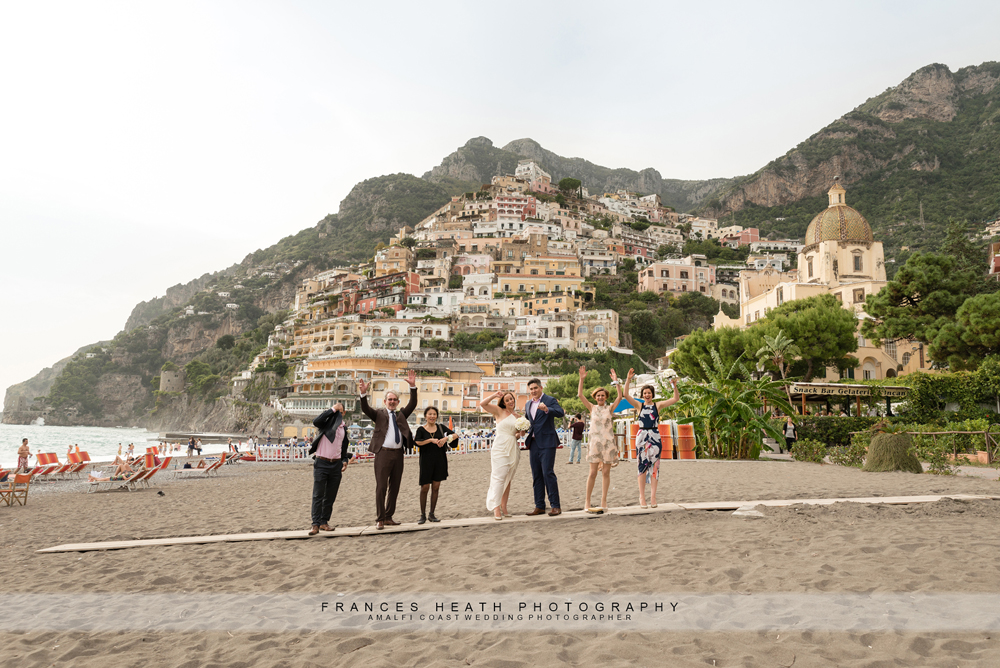 Wedding party on the Positano beach