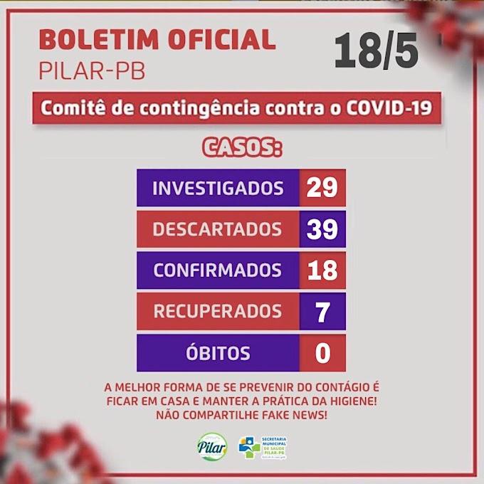 BOLETIM CORONA-VÍRUS (Pilar): Fique informado sobre atualizações em sua cidade. (18/05/2020).